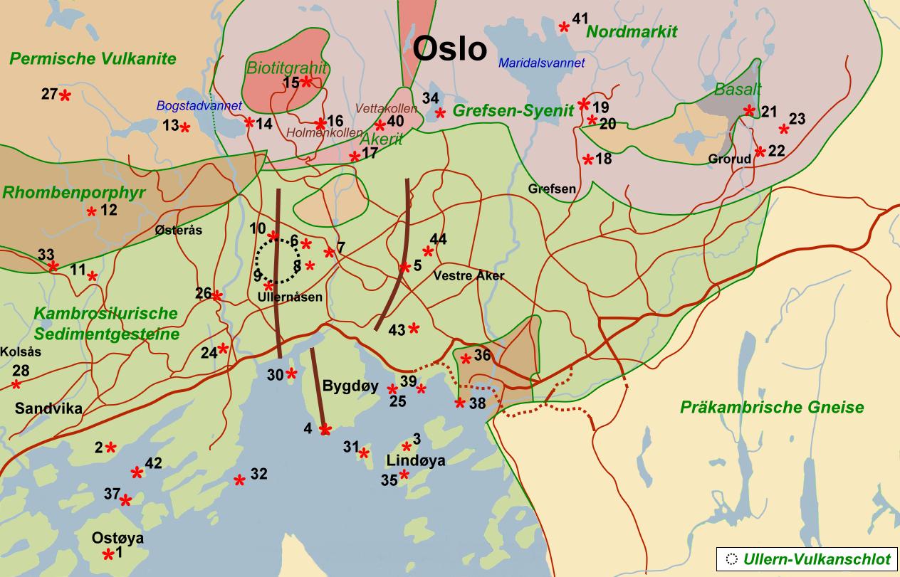 Karte Südnorwegen.Skan Kristallin